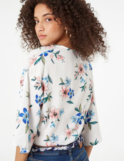 Cream, pink and blue floral tie-hem blouse