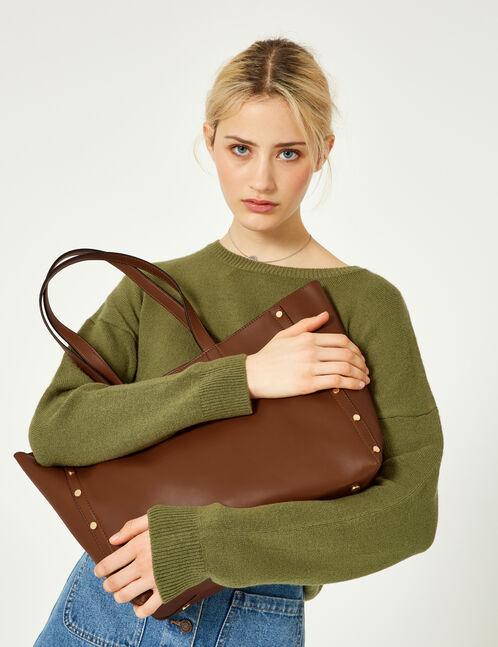 Camel studded tote bag