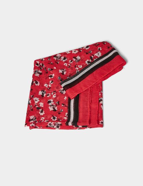 foulard fleuri rouge et noir