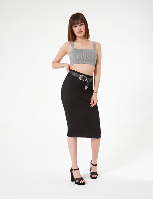 black and white gingham crop top