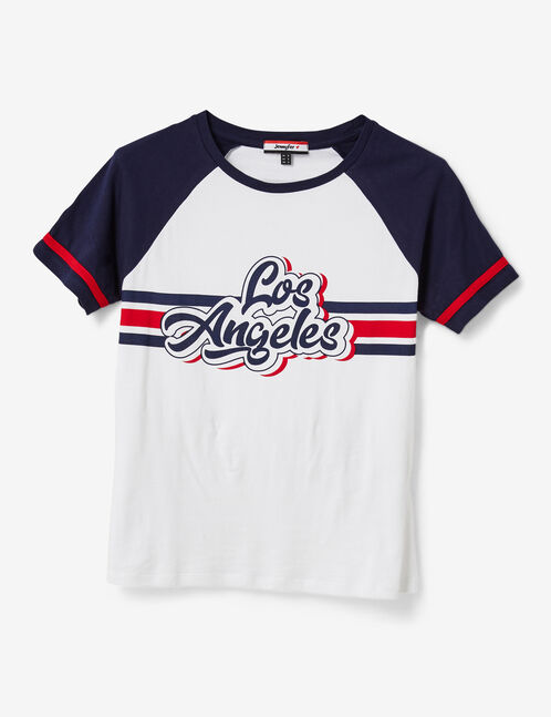 "White and navy blue ""Los Angeles"" T-shirt"