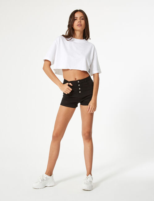 sweat crop manches courtes blanc
