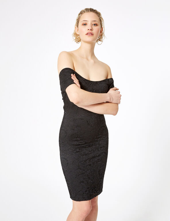 Black lace dress with back tie detail