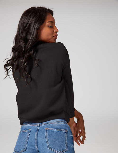 Black, red and white sweatshirt with chevron detail