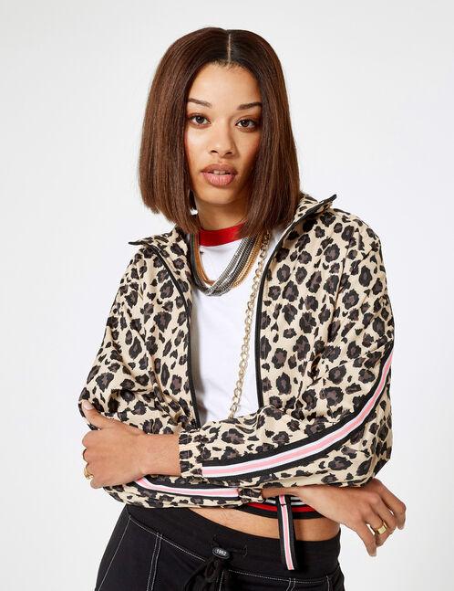 Lightweight beige and brown leopard print jacket