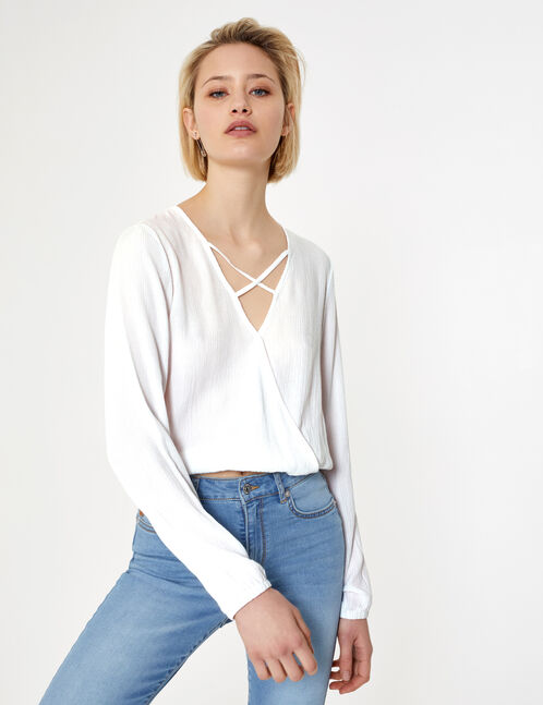 Cream blouse with strap detail