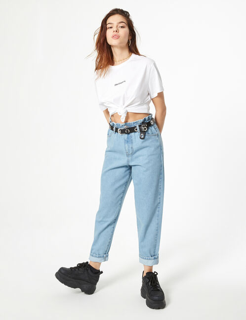 Mom jeans with elasticated waist