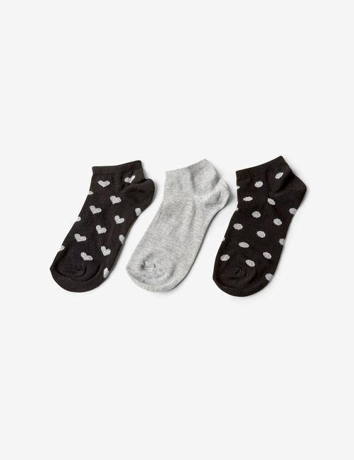 chaussettes à pois et coeurs