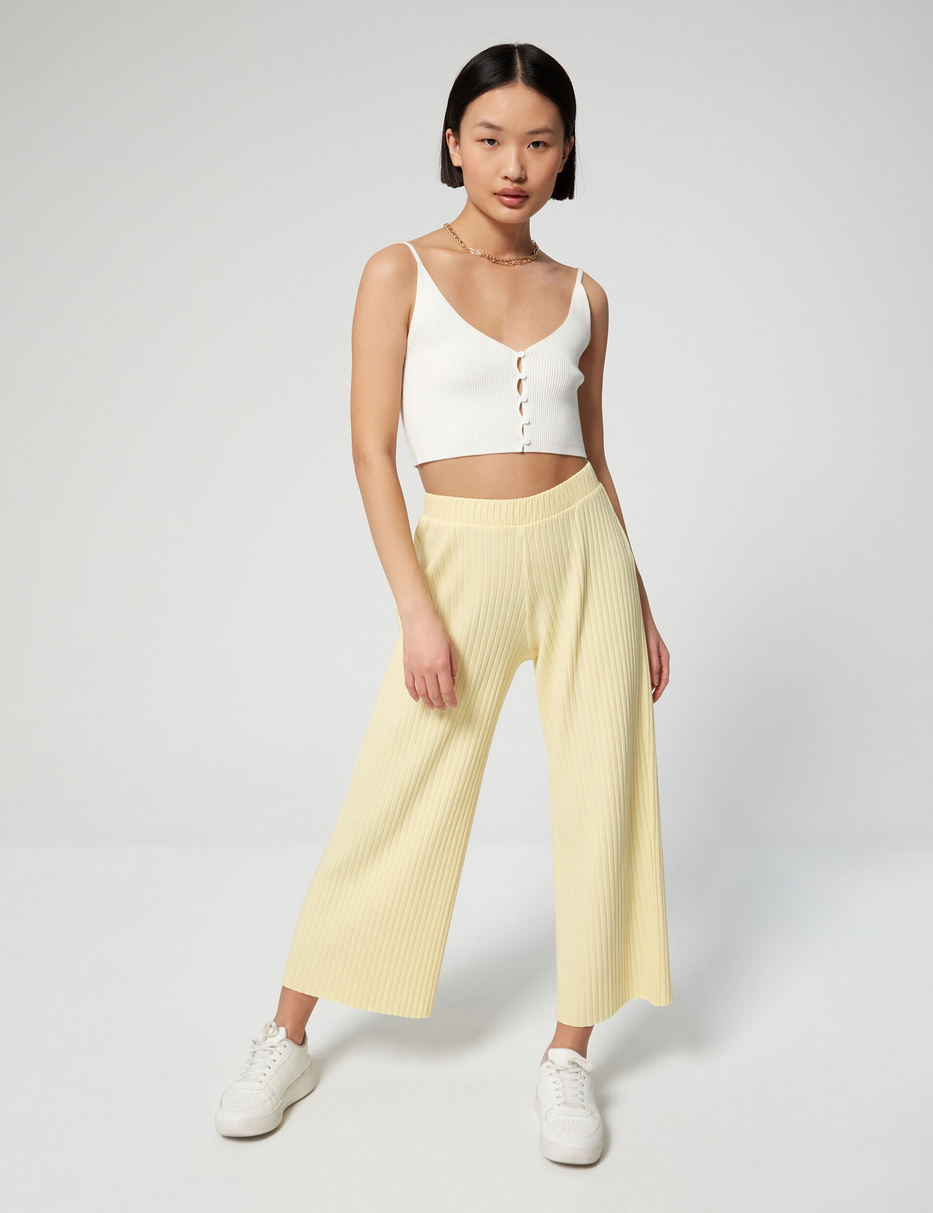 Pantalon jupe culotte côtelé