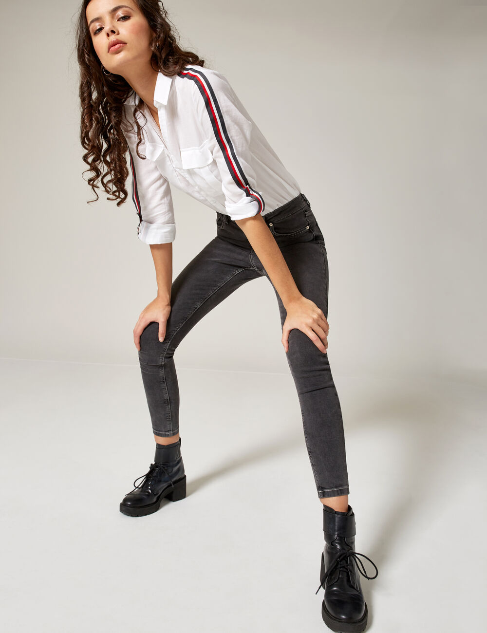jean skinny taille haute gris femme jennyfer. Black Bedroom Furniture Sets. Home Design Ideas