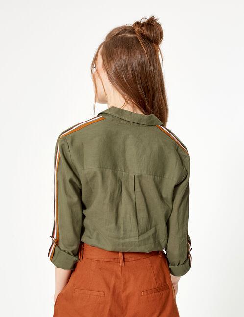 Khaki shirt with stripe detail