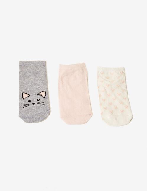 chaussettes fantaisies grises, roses et écrues