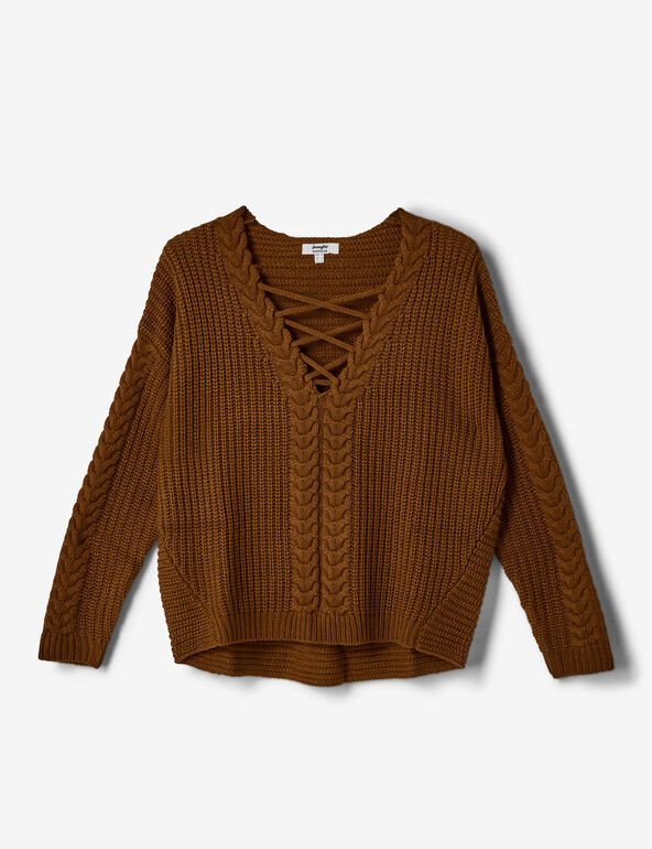 Camel jumper with lacing detail