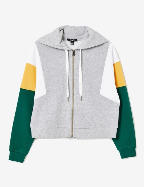 Grey marl, white, ochre and green zip-up hoodie with panel detail
