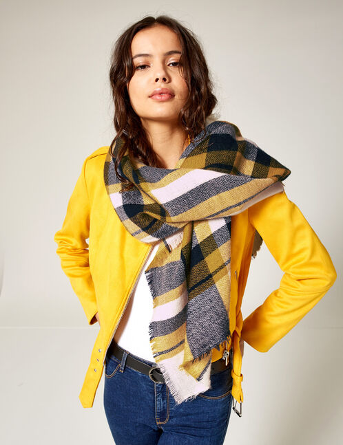Cream, navy blue and ochre tartan scarf