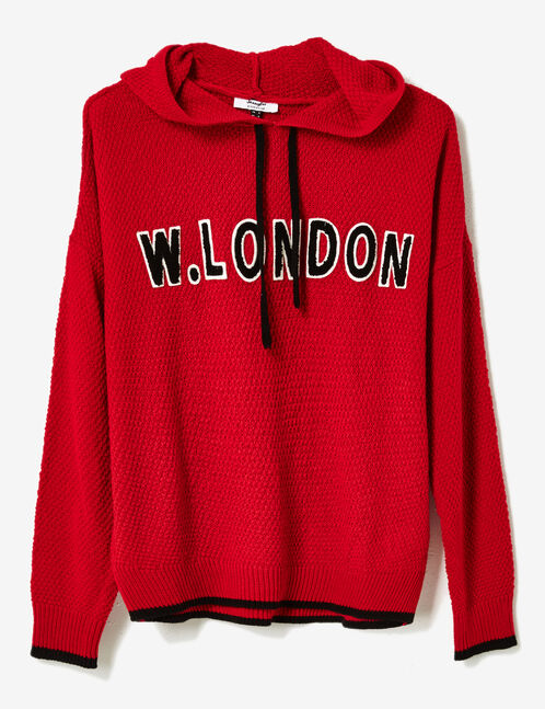 "Red ""W London"" hoodie"