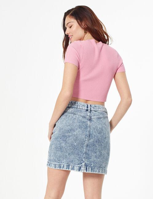 Jupe en jean délavée