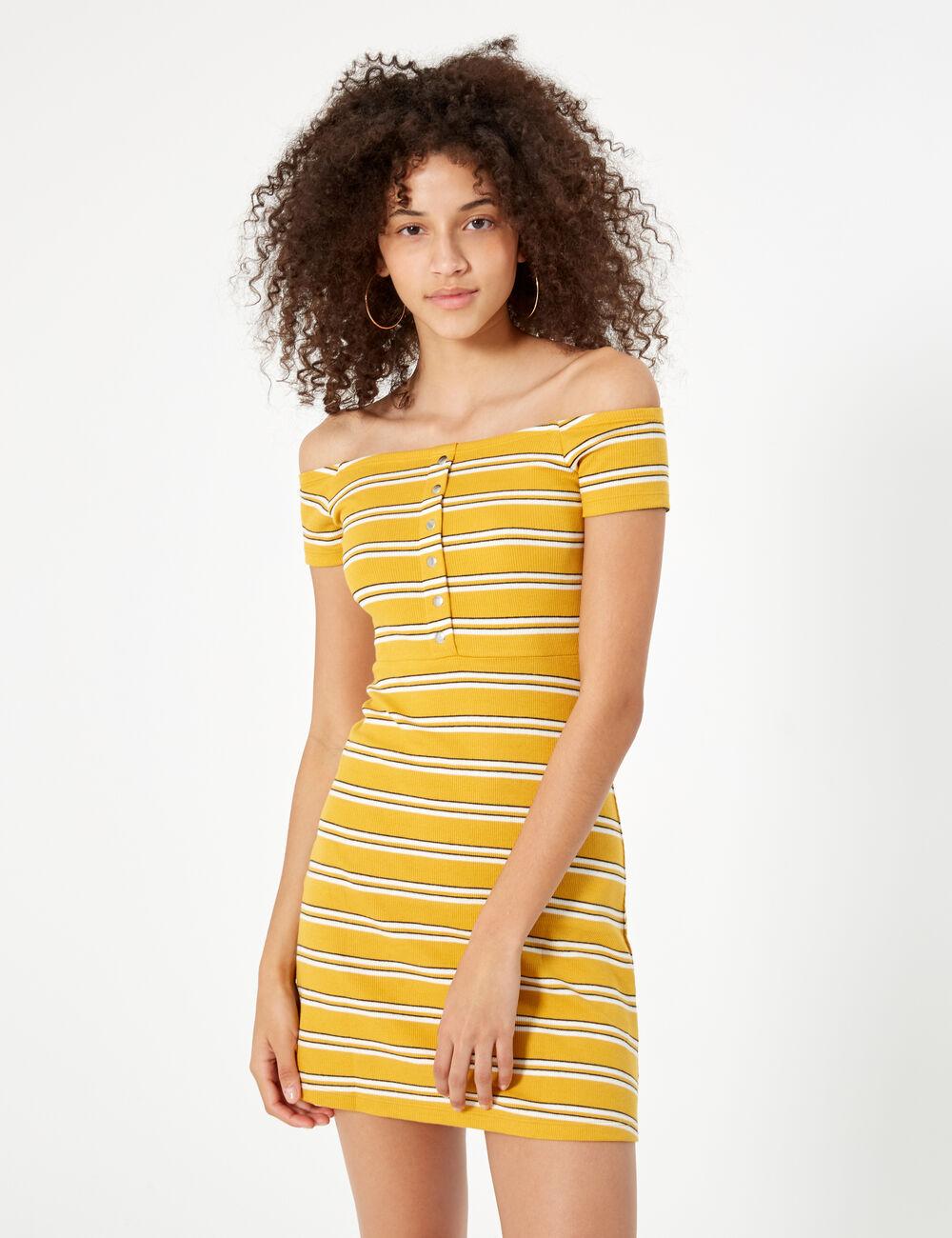 4180e6c37cb60 Yellow, black and white striped dress woman • Jennyfer