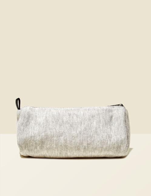 """Grey marl """"82"""" print make-up bag"""
