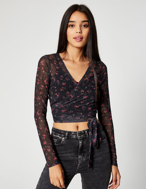 Floral cross-over top