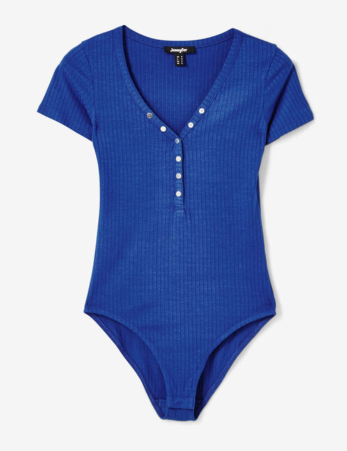 Blue bodysuit with press-stud detail