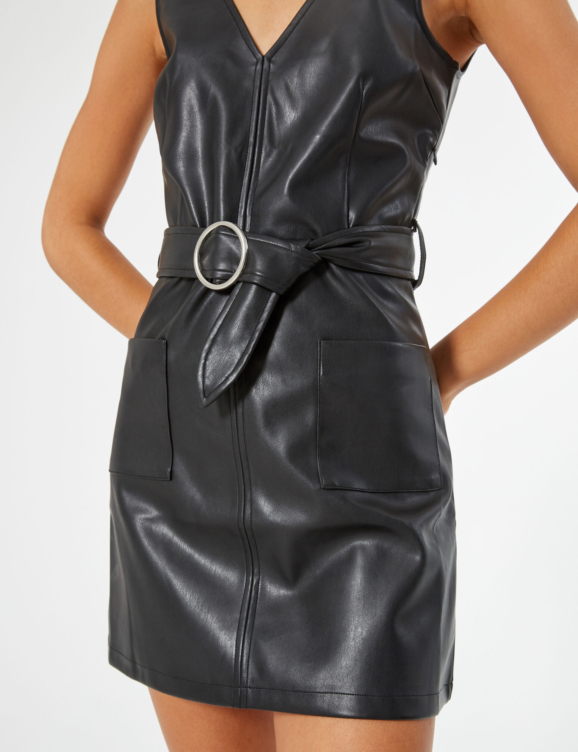 Faux leather dress with belt