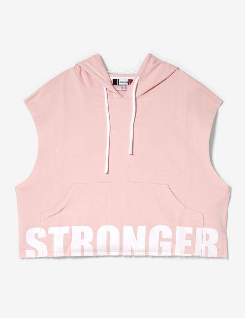 sweat à capuche sans manches rose clair