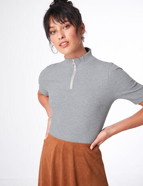 Grey marl zipped T-shirt