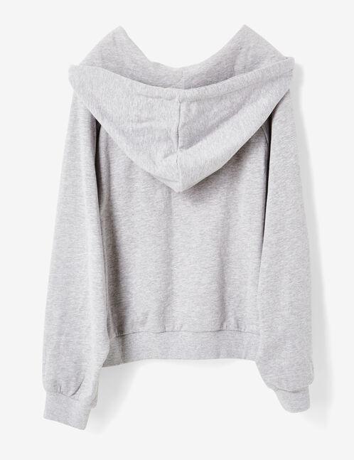 sweat à capuche gris chiné