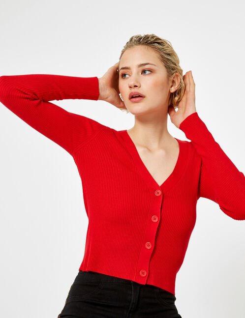 Red buttoned rib-knit cardigan