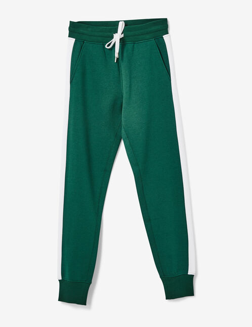 Green joggers with side stripe detail