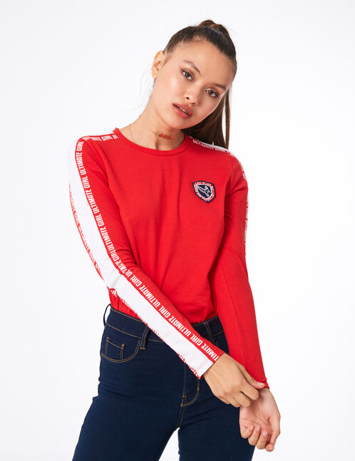 "Red and white ""ultimate girl"" top"