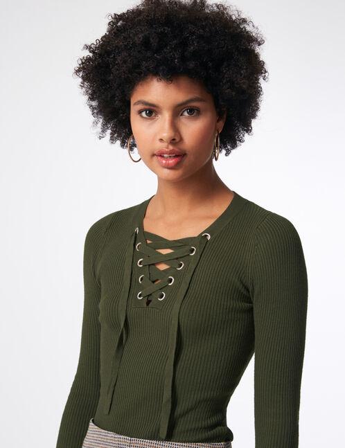 Khaki ribbed jumper with lacing detail