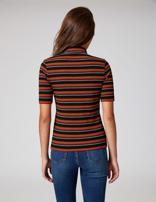 Black, white, rust and camel striped T-shirt with zip detail
