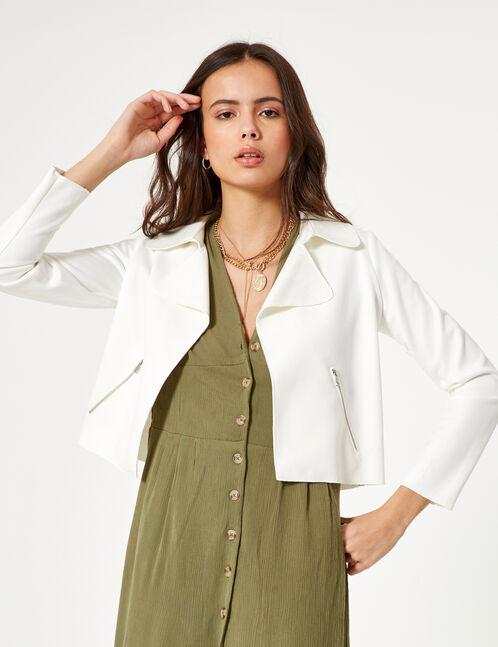 Cream faux suede jacket