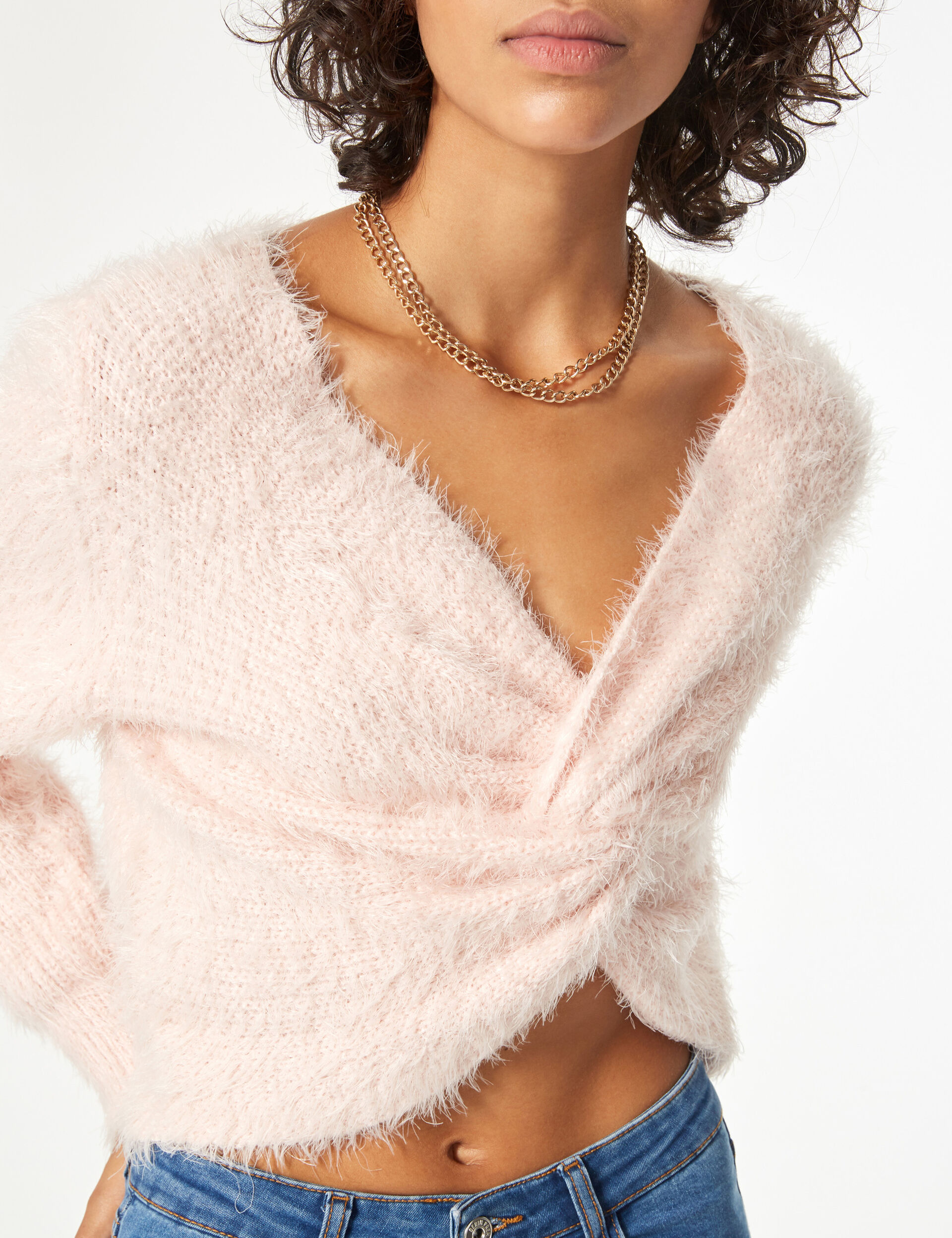 Deep-neck jumper with knot detail