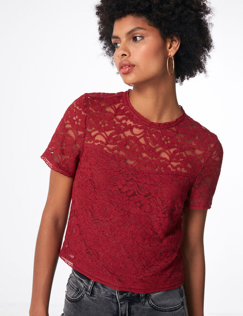 Burgundy lace blouse
