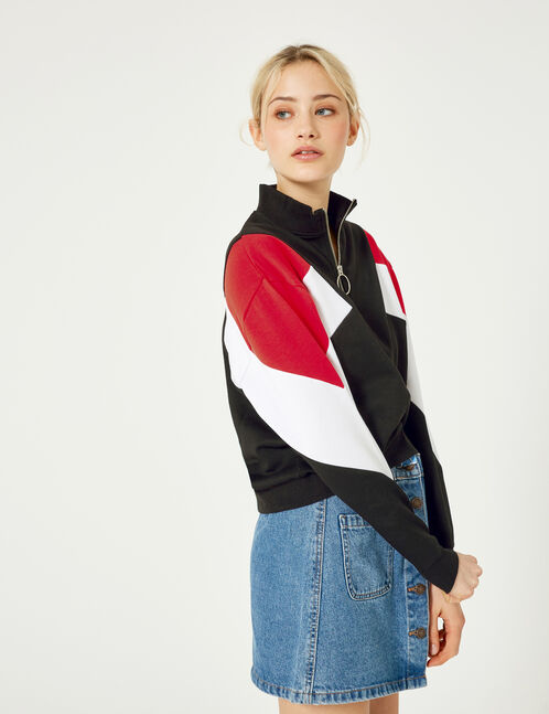 Black, red and white sweatshirt with panel detail