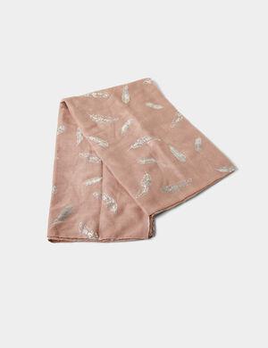 foulard avec plumes rose clair