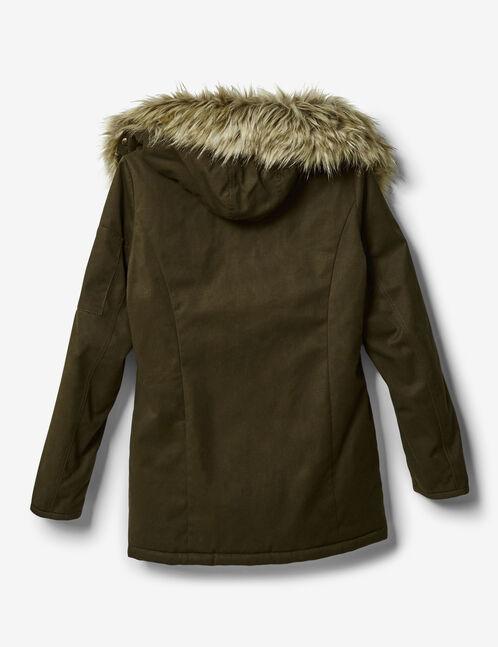 Khaki faux fur-lined parka