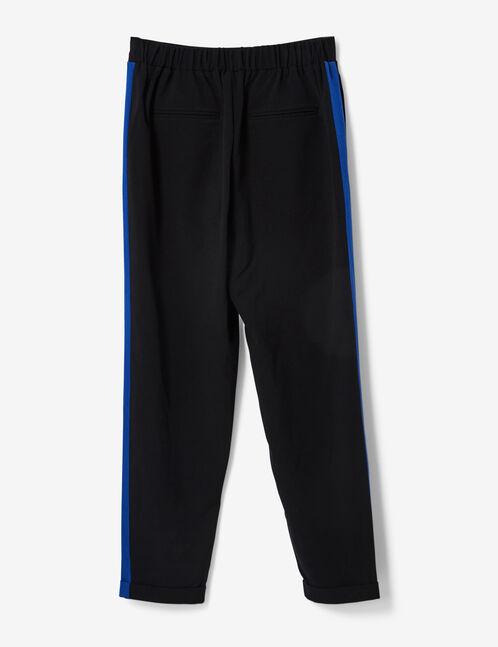 pantalon ville noir à bandes bleus