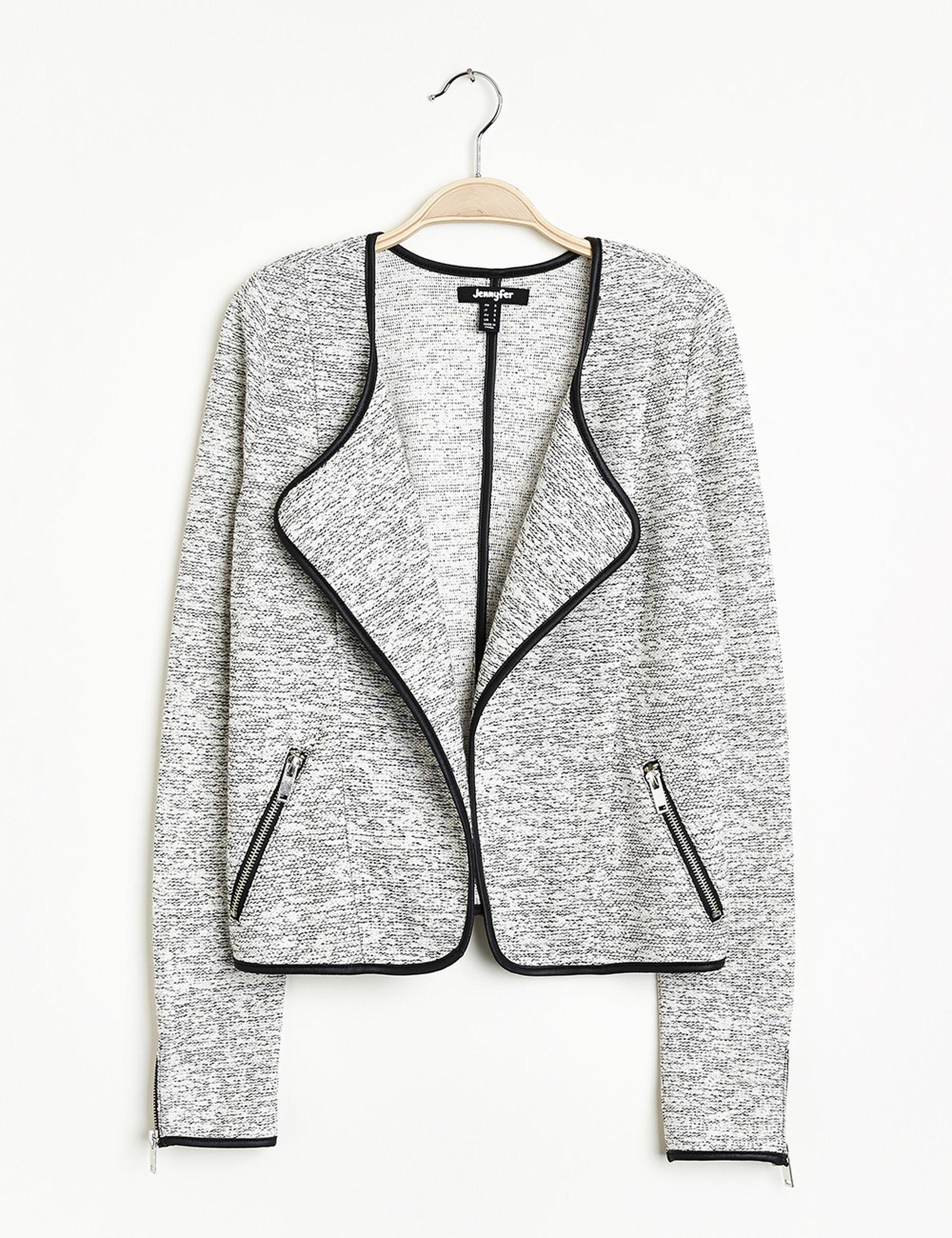 veste courte jetée écrue et noire