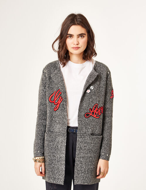 Charcoal grey marl cardigan with patch and stud details