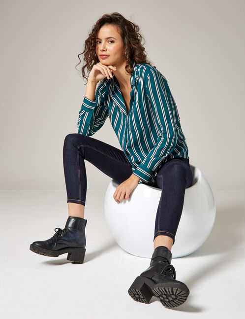 Green, white and black striped shirt