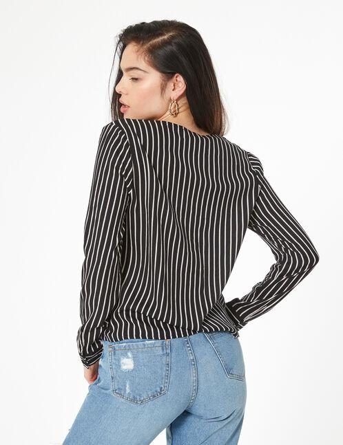 striped v-neck shirt