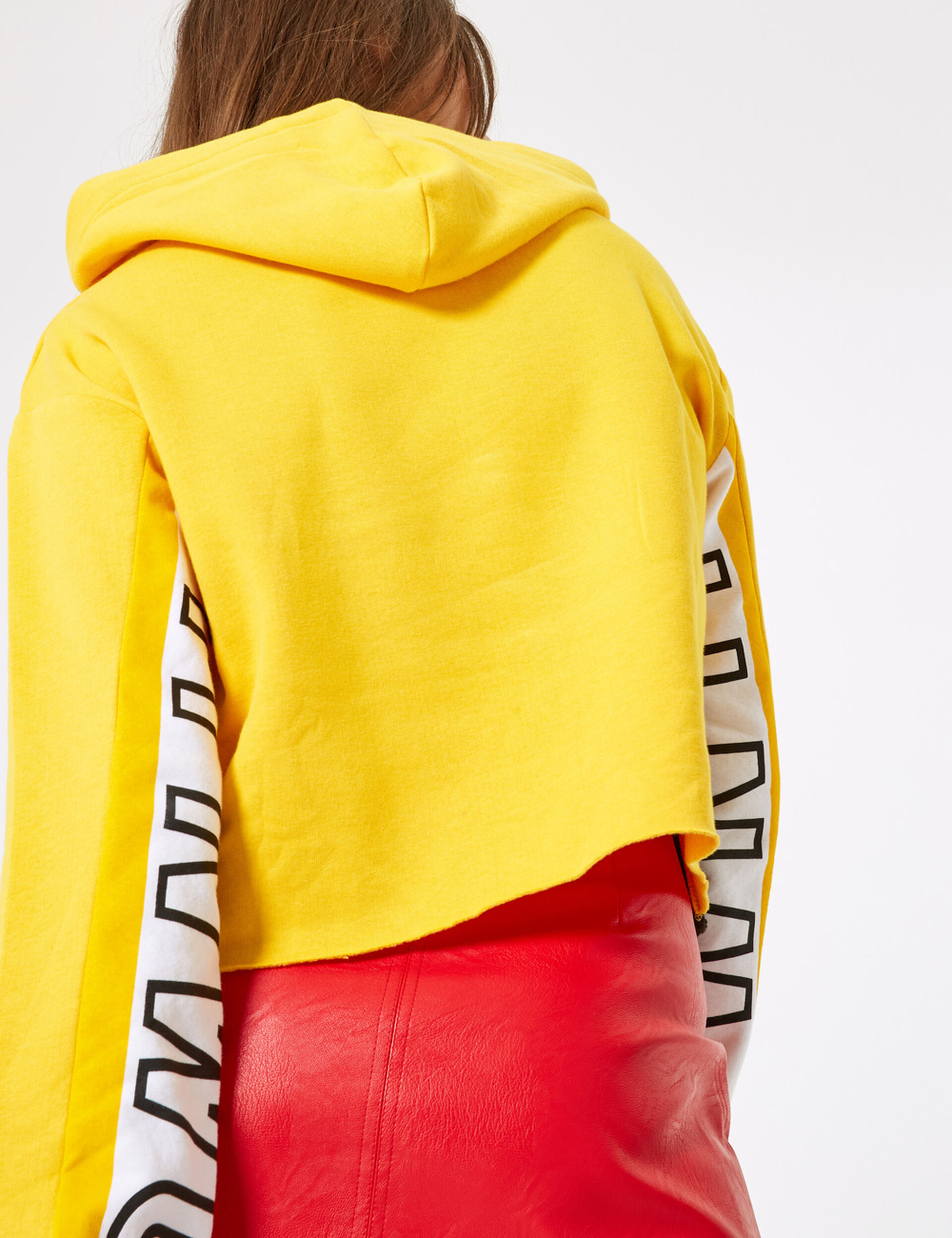 Tricolour hoodie with text design detail