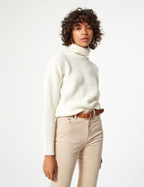Cropped woven knit jumper