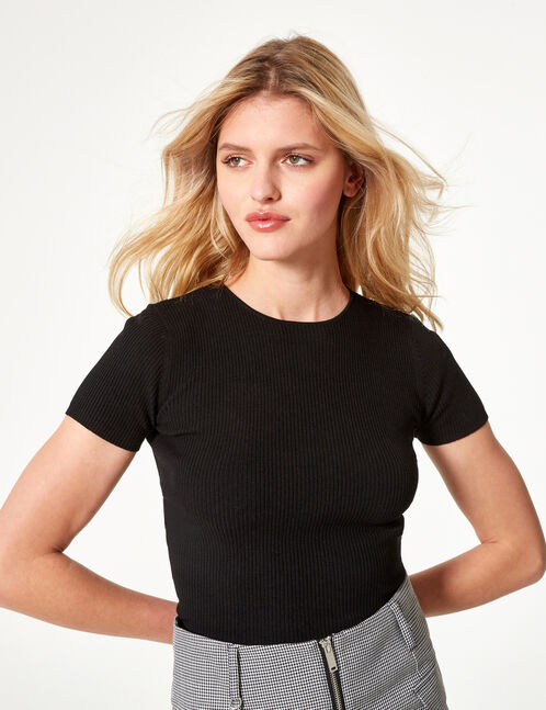 tee-shirt basic côtelé noir