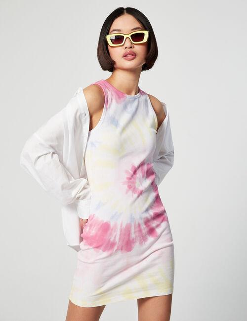 Tie-dye ribbed dress