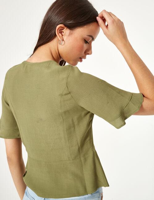 Khaki deep-V blouse